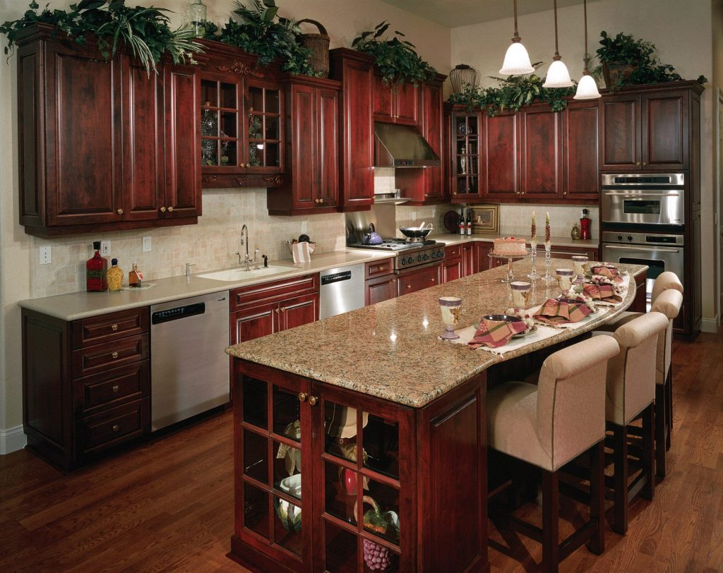 gorgeous cherry wood reddish brown rta kitchen cabinets - Cherry Wood Kitchen Cabinet