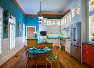 white-shaker-kitchen-cabinets-blue-kitchen-eclectic-wild-colors-kitchen