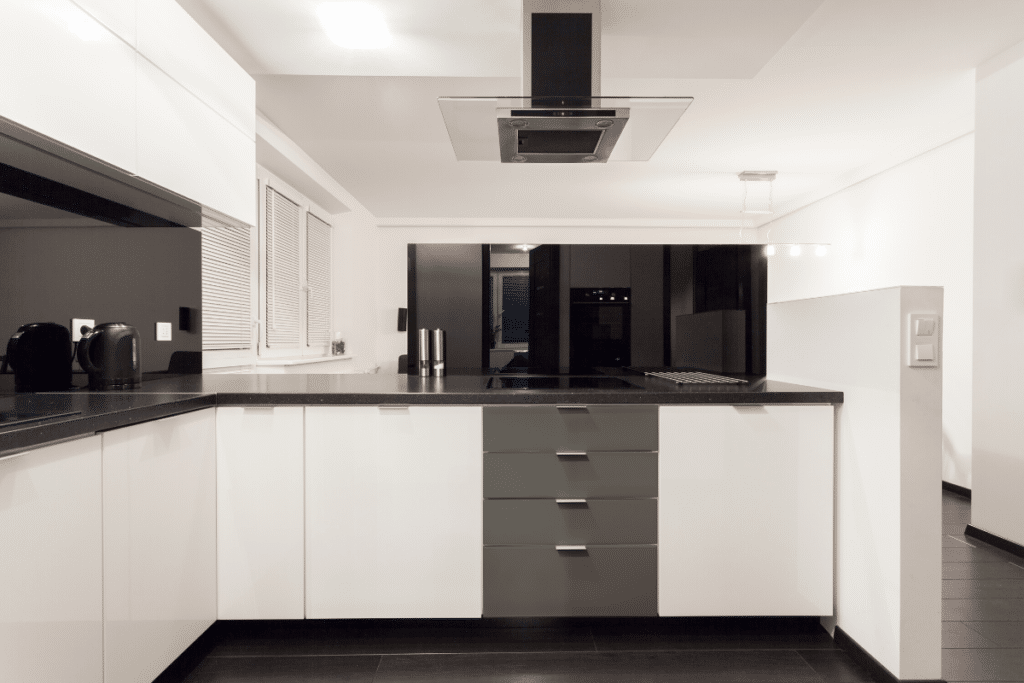 White Kitchen Cabinets with Appliance