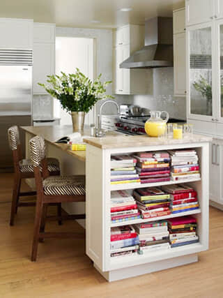 Design Ideas - Kitchen Island with Bookshelf