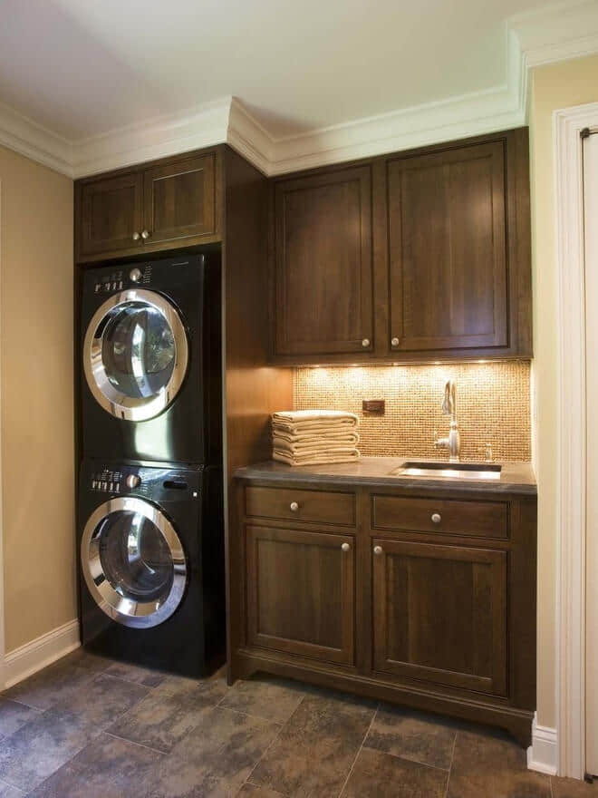 Design Idea - Laundry with Stacked Washer Dryer